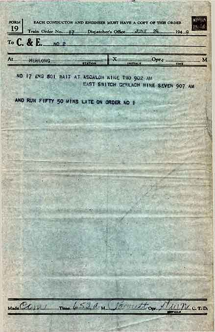 Form 19 31 And Other Train Orders